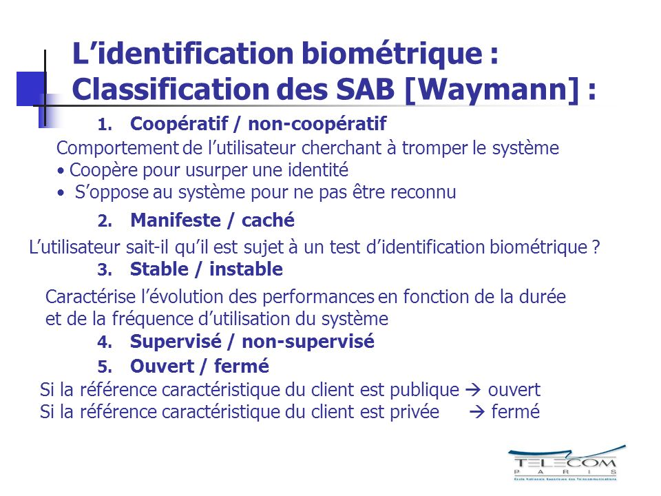 L'identification biométrique : Classification des SAB [Waymann] :